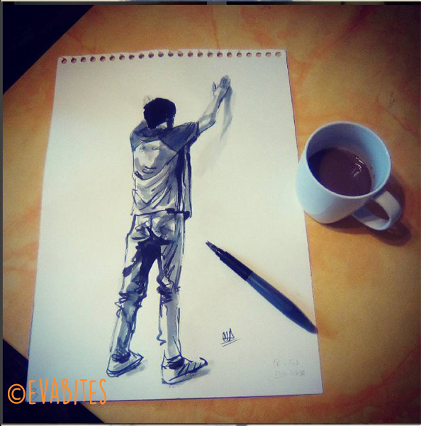 boy, drawing, hands up, detenido, arrested, tee, t-shirt, pants, trousers, jeans, sneakers, ink, chinese ink, paper, dibujo, manos arriba, camiseta, pantalones, vauqeros, deportivas cafe
