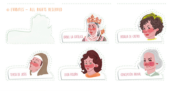 stickers, pegatinas, personajes, caras, faces, characters, women, mujeres, mujer, women, history, historia